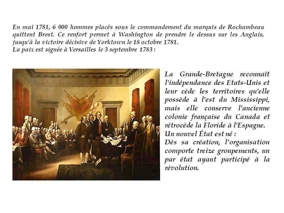 En mai 1781, 6 000 hommes placés sous le commandement du marquis de Rochambeau quittent Brest.