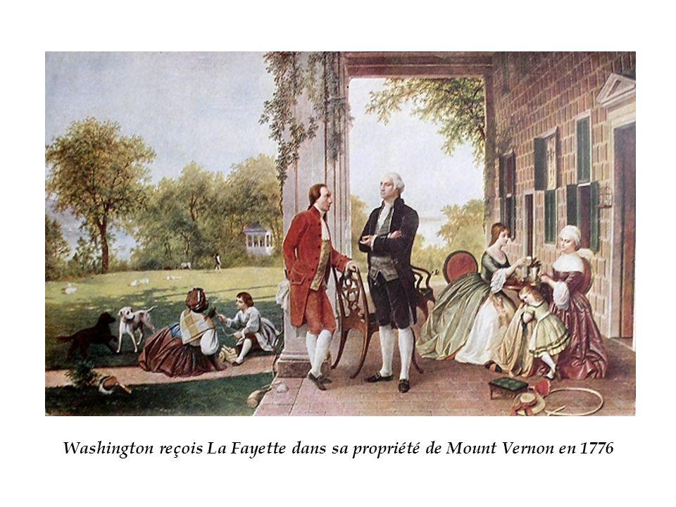 Washington reçois La Fayette dans sa propriété de Mount Vernon en 1776
