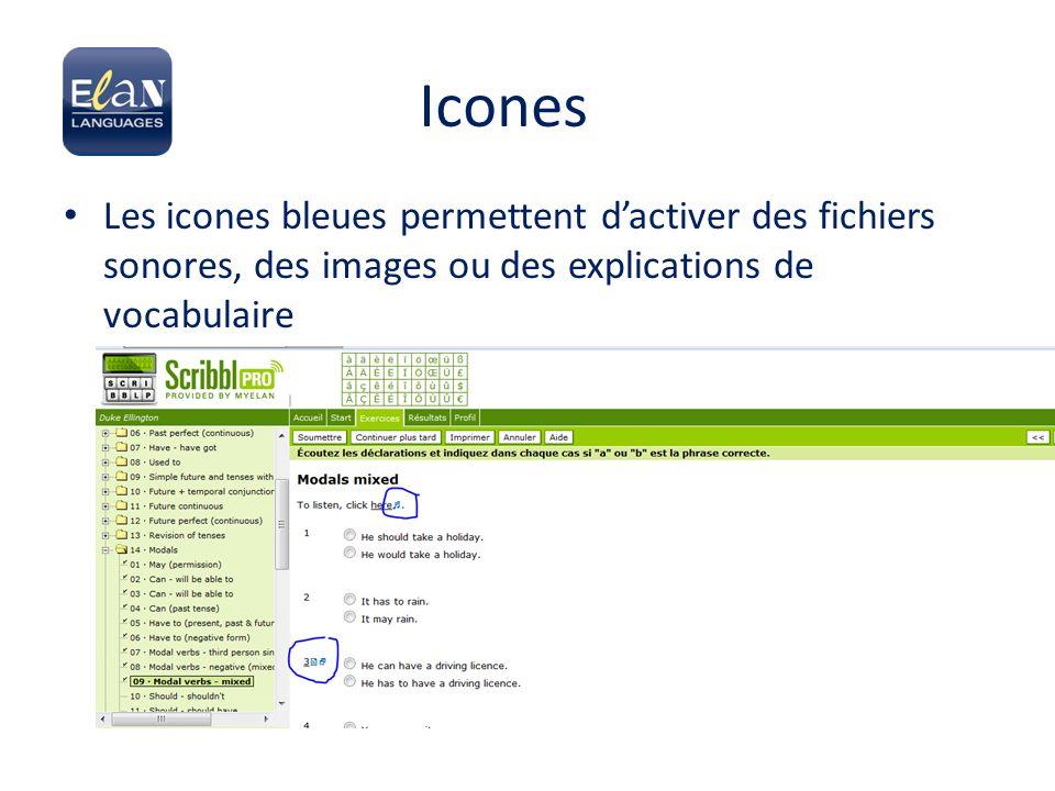 Icones Les icones bleues permettent d'activer des fichiers sonores, des images ou des explications de vocabulaire