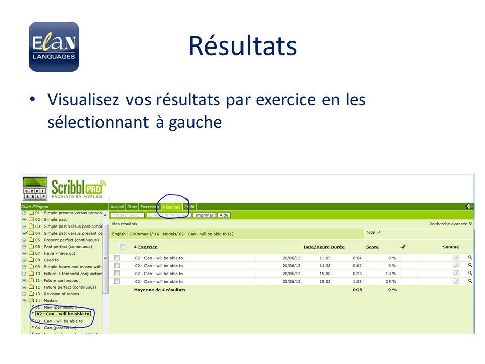 Résultats Visualisez vos résultats par exercice en les sélectionnant à gauche