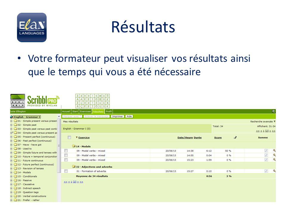 Résultats Votre formateur peut visualiser vos résultats ainsi que le temps qui vous a été nécessaire