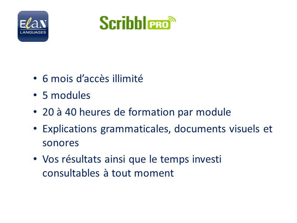 6 mois d'accès illimité 5 modules 20 à 40 heures de formation par module Explications grammaticales, documents visuels et sonores Vos résultats ainsi que le temps investi consultables à tout moment