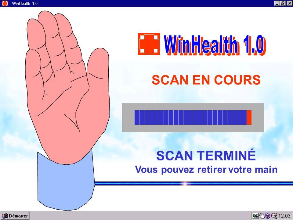 12:05 WinHealth 1.0 ERREUR 911 Causes possibles d'erreur : - Mauvais contact de la main sur l'écran ; - La main n'est pas placée sur l'écran Replacez