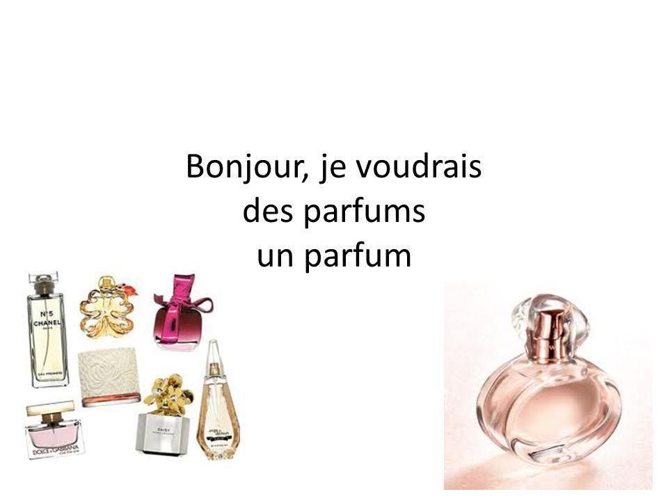 Bonjour, je voudrais des parfums un parfum