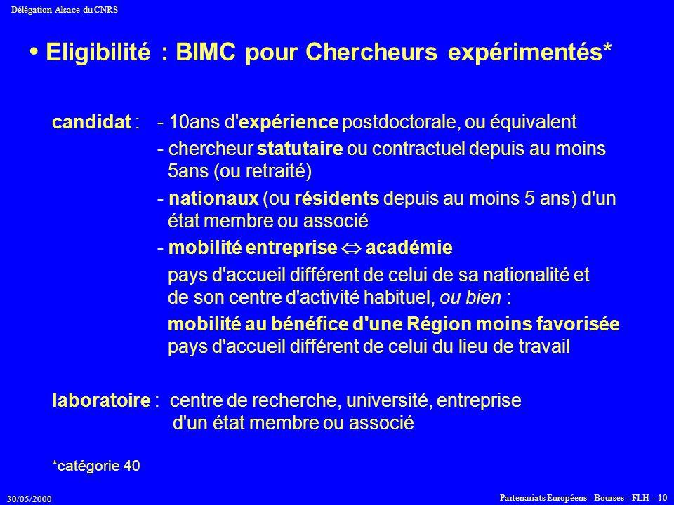 30/05/2000 Délégation Alsace du CNRS Partenariats Européens - Bourses - FLH - 10 Eligibilité : BIMC pour Chercheurs expérimentés* candidat :- 10ans d'