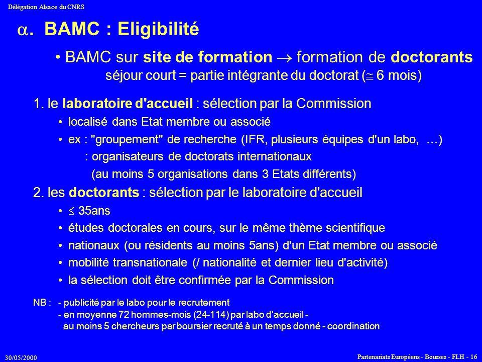 30/05/2000 Délégation Alsace du CNRS Partenariats Européens - Bourses - FLH - 16 . BAMC : Eligibilité 1. le laboratoire d'accueil : sélection par la