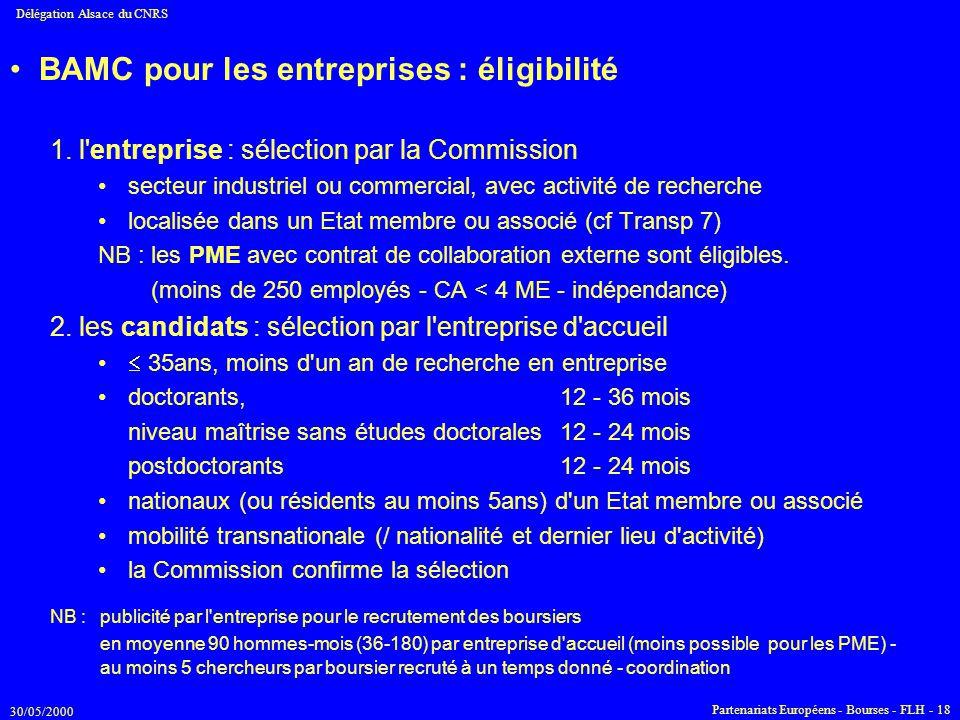 30/05/2000 Délégation Alsace du CNRS Partenariats Européens - Bourses - FLH - 18 BAMC pour les entreprises : éligibilité 1. l'entreprise : sélection p
