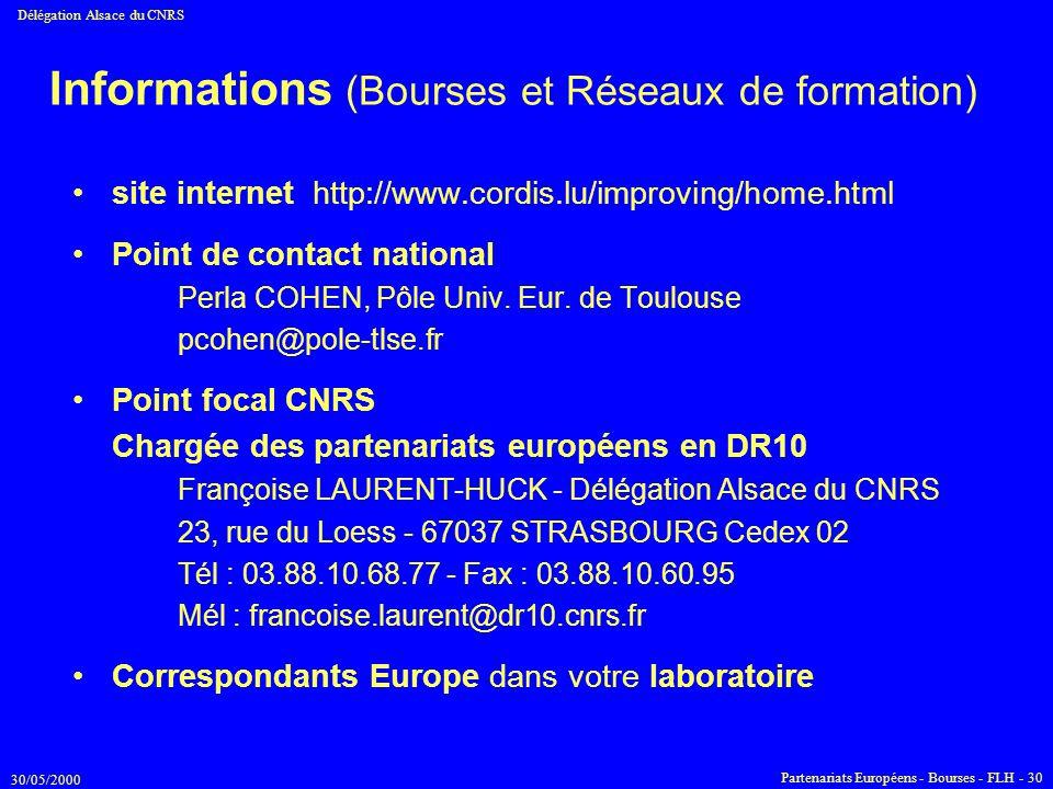 30/05/2000 Délégation Alsace du CNRS Partenariats Européens - Bourses - FLH - 30 Informations (Bourses et Réseaux de formation) site internet http://w