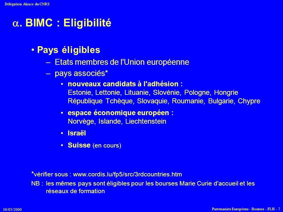 30/05/2000 Délégation Alsace du CNRS Partenariats Européens - Bourses - FLH - 7 . BIMC : Eligibilité Pays éligibles –Etats membres de l'Union europée
