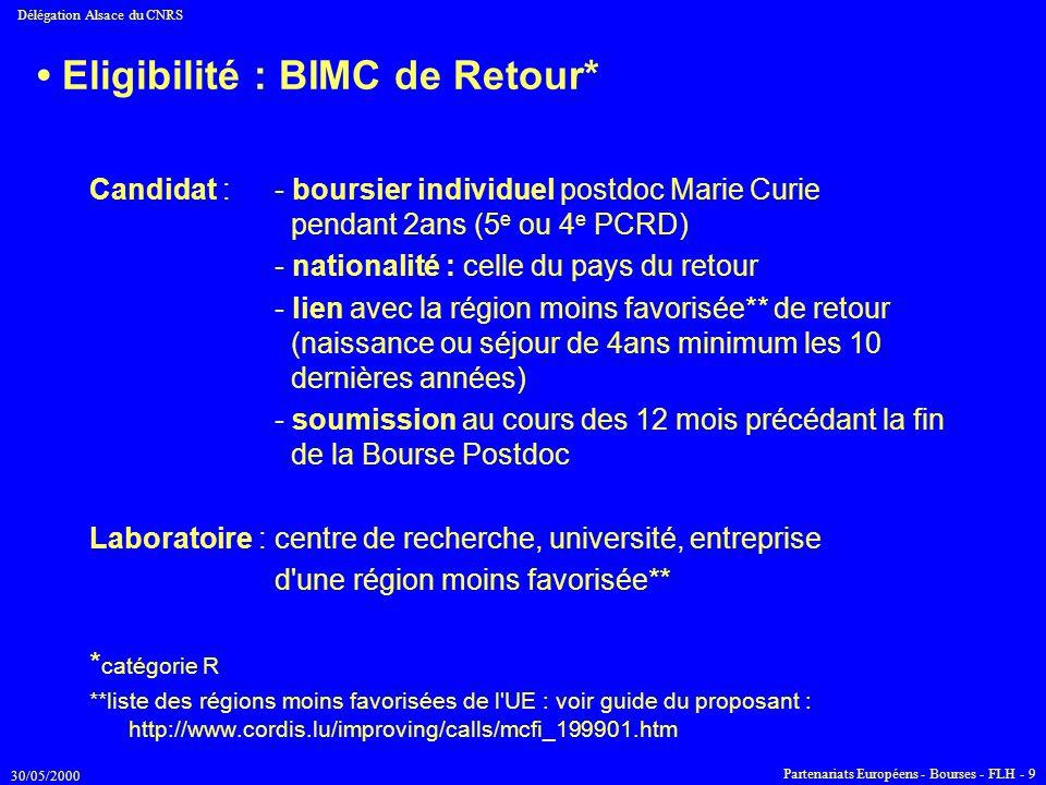 30/05/2000 Délégation Alsace du CNRS Partenariats Européens - Bourses - FLH - 9 Eligibilité : BIMC de Retour* Candidat :- boursier individuel postdoc