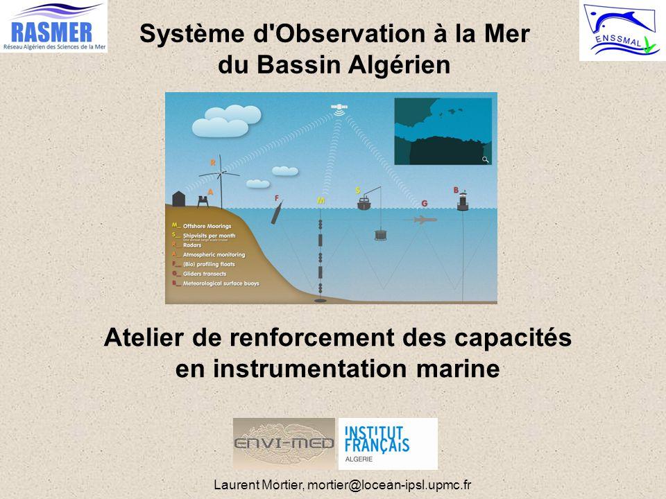 Navires de Recherche Hydrologie RV nécessaire: Colonne d'eau profonde > 1000 ou 2000m Nombreux paramètres inaccessibles par plateformes autonomes Calibration et vérité « terrain » Zones à l'accessibilité contrainte (topographie, éloignement, …) Réseaux actuels hétérogènes (objectifs, emprise/échantillonnage) RADMED (Espagne) : ~ 8 radiales de ~100km MOOSE-GE : couverture « grande échelle » gyre nord Dyfamed/Antares/Mola : Suivi mensuel point fixe (mouillage) MEDOCC (Italie) : « boites » bassin Ouest Chypre (CYBO), Algérie (SOMBA-GE) Programmes et documents de référence internationaux GO-SHIP (GCOS, GOOS, WMO), « GO-SHIP Repeat Hydrography Manual » Workshop « Med-GoShip » (CIESM, 2011, monographie no 43) IR européenne EuroFleet I et II Partage et mise à disposition de temps bateau Mais pas vraiment adaptée (appel d offre, …) JPI Ocean Projet d'action pilote en cours de montage