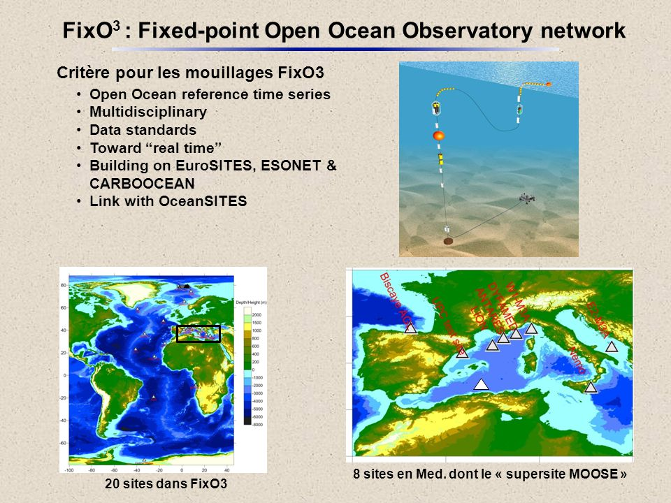 "Critère pour les mouillages FixO3 Open Ocean reference time series Multidisciplinary Data standards Toward ""real time"" Building on EuroSITES, ESONET &"