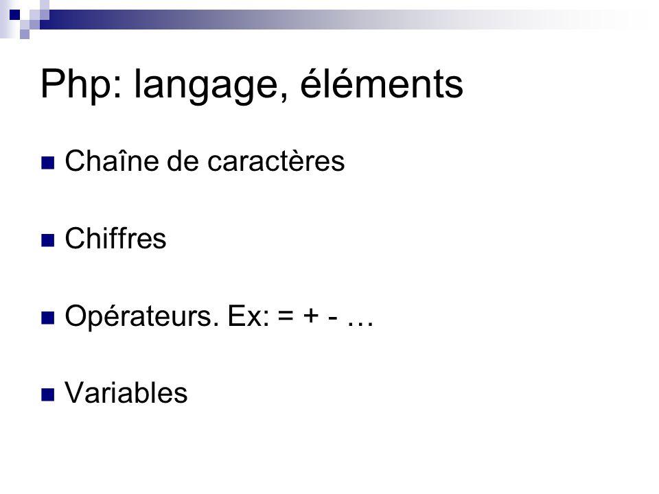 Php: langage, éléments Chaîne de caractères Chiffres Opérateurs. Ex: = + - … Variables