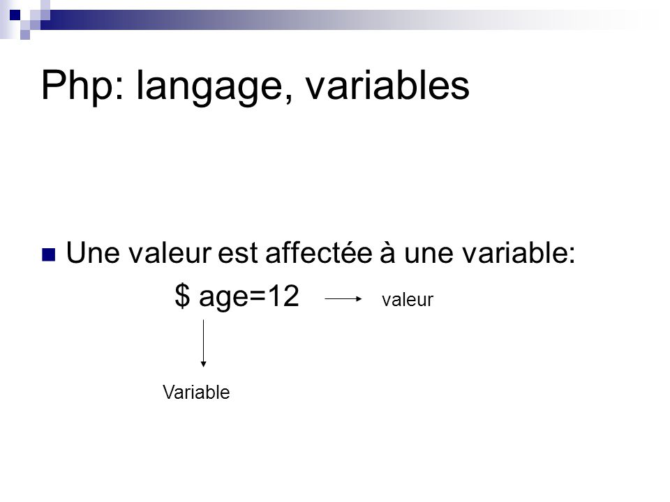 Php: langage, variables Exemple: $ animal=« antilope » $ animal_tête= 1 $ animal_pattes= 4 Echo (« un(e) $animal a $animal_tête tête(s) et $animal _pattes patte(s) ») Affichage écran: Un(e) antilope a 1 tête(s) et 4 patte(s).