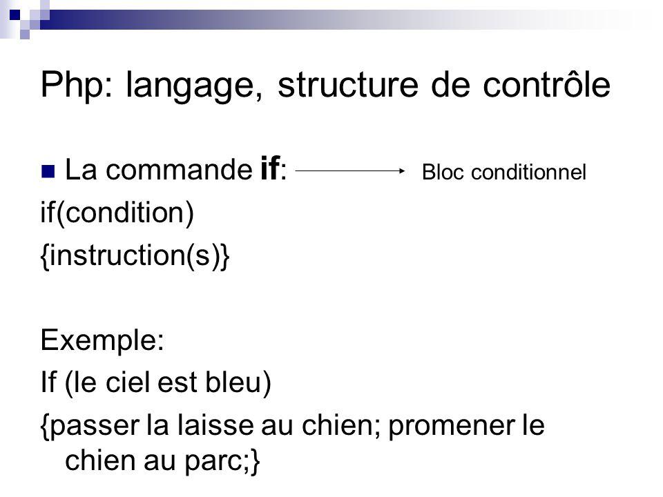 Php: langage, structure de contrôle La commande if : if(condition) {instruction(s)} Exemple: If (le ciel est bleu) {passer la laisse au chien; promene