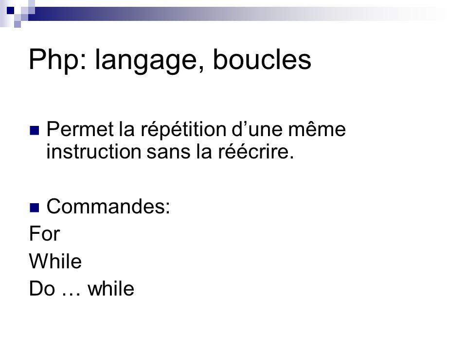 Php: langage, boucles Permet la répétition d'une même instruction sans la réécrire. Commandes: For While Do … while