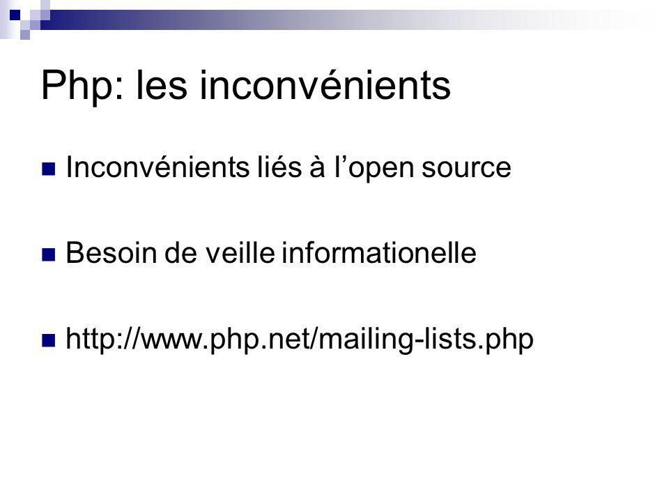 Php: les inconvénients Inconvénients liés à l'open source Besoin de veille informationelle http://www.php.net/mailing-lists.php