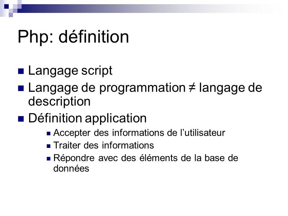 Php: définition Langage script Langage de programmation ≠ langage de description Définition application Accepter des informations de l'utilisateur Tra
