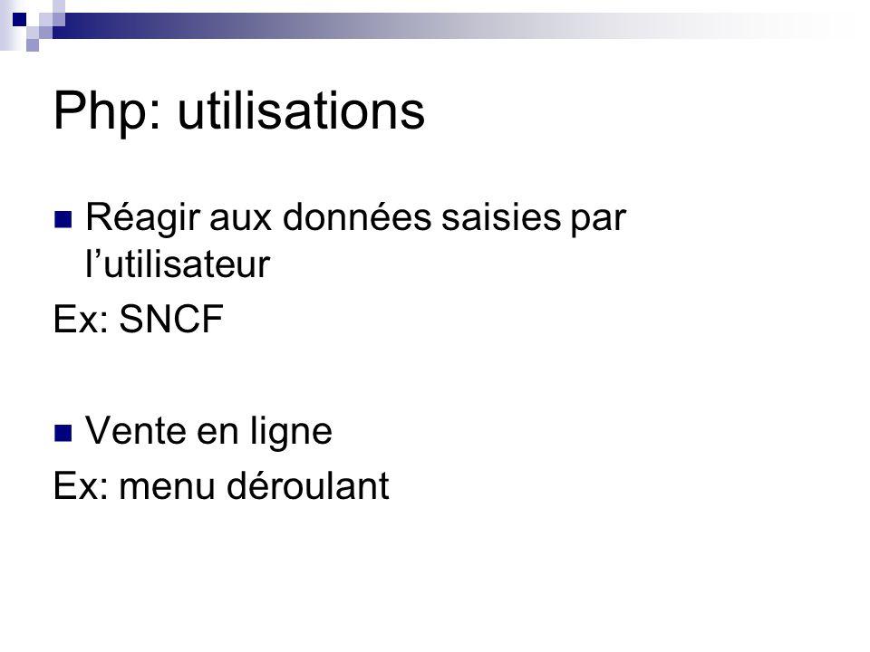Php: utilisations Réagir aux données saisies par l'utilisateur Ex: SNCF Vente en ligne Ex: menu déroulant