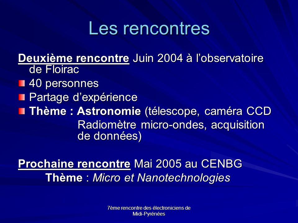 7ème rencontre des électroniciens de Midi-Pyrénées Les rencontres Deuxième rencontre Juin 2004 à l'observatoire de Floirac 40 personnes Partage d'expé