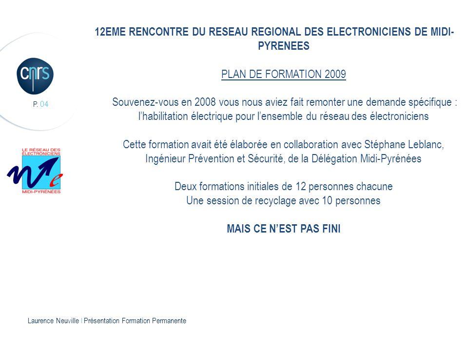 P. 04 12EME RENCONTRE DU RESEAU REGIONAL DES ELECTRONICIENS DE MIDI- PYRENEES PLAN DE FORMATION 2009 Souvenez-vous en 2008 vous nous aviez fait remont