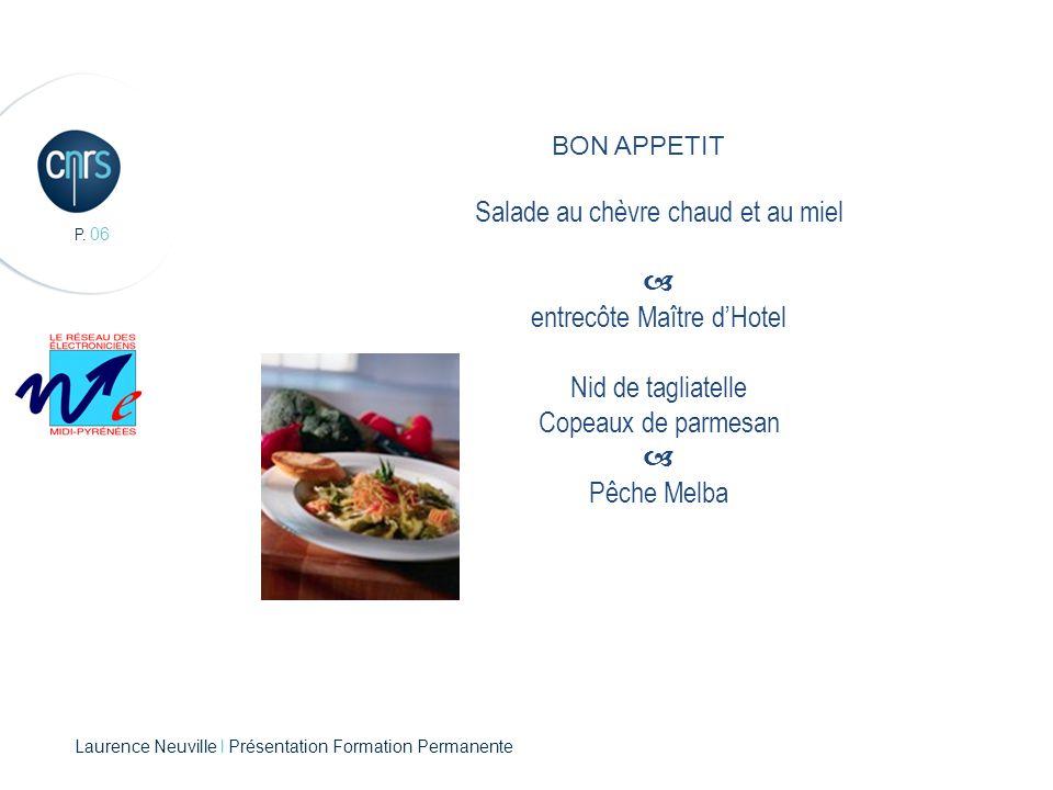 P. 06 BON APPETIT Salade au chèvre chaud et au miel  entrecôte Maître d'Hotel Nid de tagliatelle Copeaux de parmesan  Pêche Melba Laurence Neuville