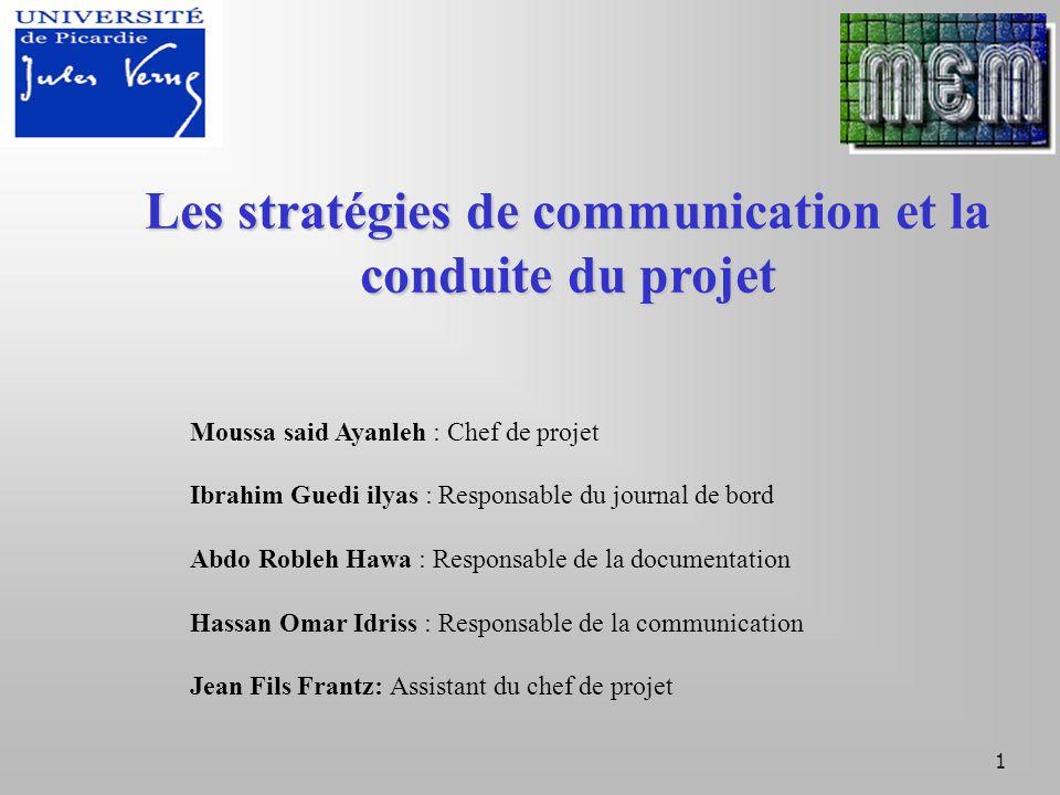 2 PLAN DE PRESENTATION Introduction 1 er partie: stratégie de communication 2 er partie: conduite du projet Conclusion