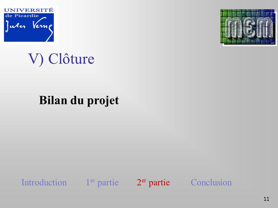 V) Clôture 11 Bilan du projet Introduction 1 er partie 2 er partie Conclusion