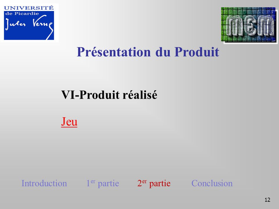 12 VI-Produit réalisé Jeu Présentation du Produit Introduction 1 er partie 2 er partie Conclusion