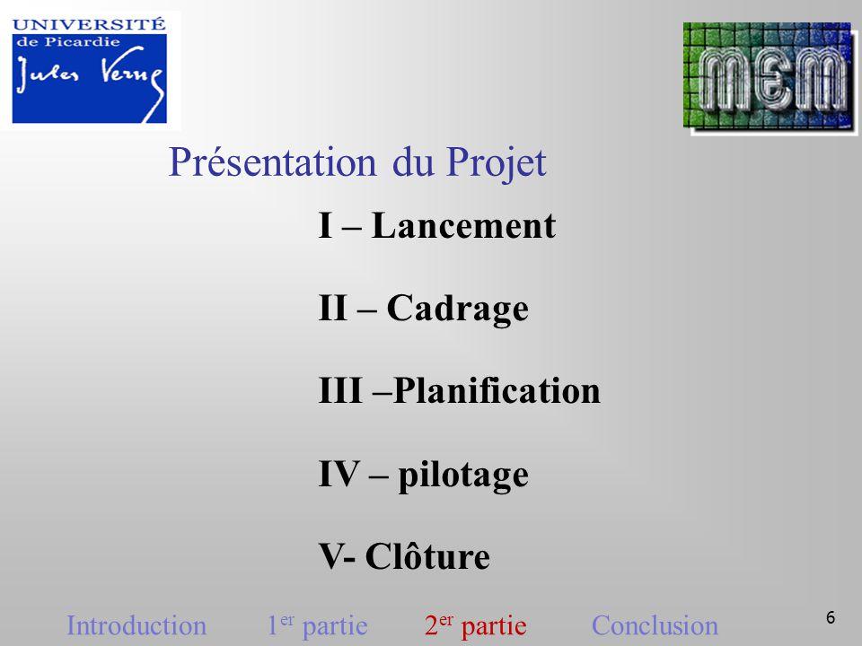 7 I) lancement Constitution de l'équipe Définition des rôles Charte graphique Réponse à la demande du client Introduction 1 er partie 2 er partie Conclusion