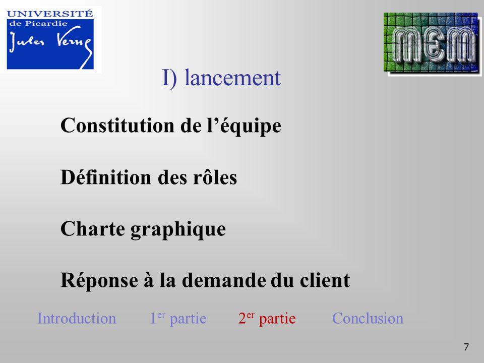 Cadrage du projet Cahier de charges 8 II) Cadrage du projet Introduction 1 er partie 2 er partie Conclusion
