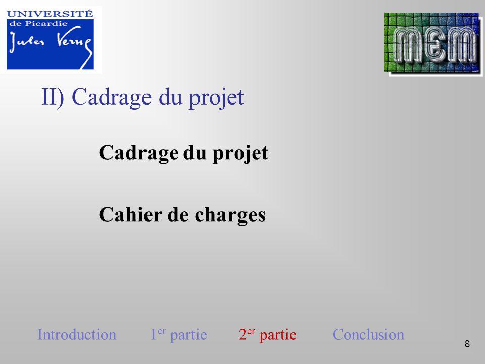III) Planification du projet 9 Introduction 1 er partie 2 er partie Conclusion