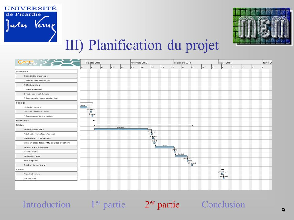 III) Planification du projet 9 Introduction 1 er partie 2 er partie Conclusion