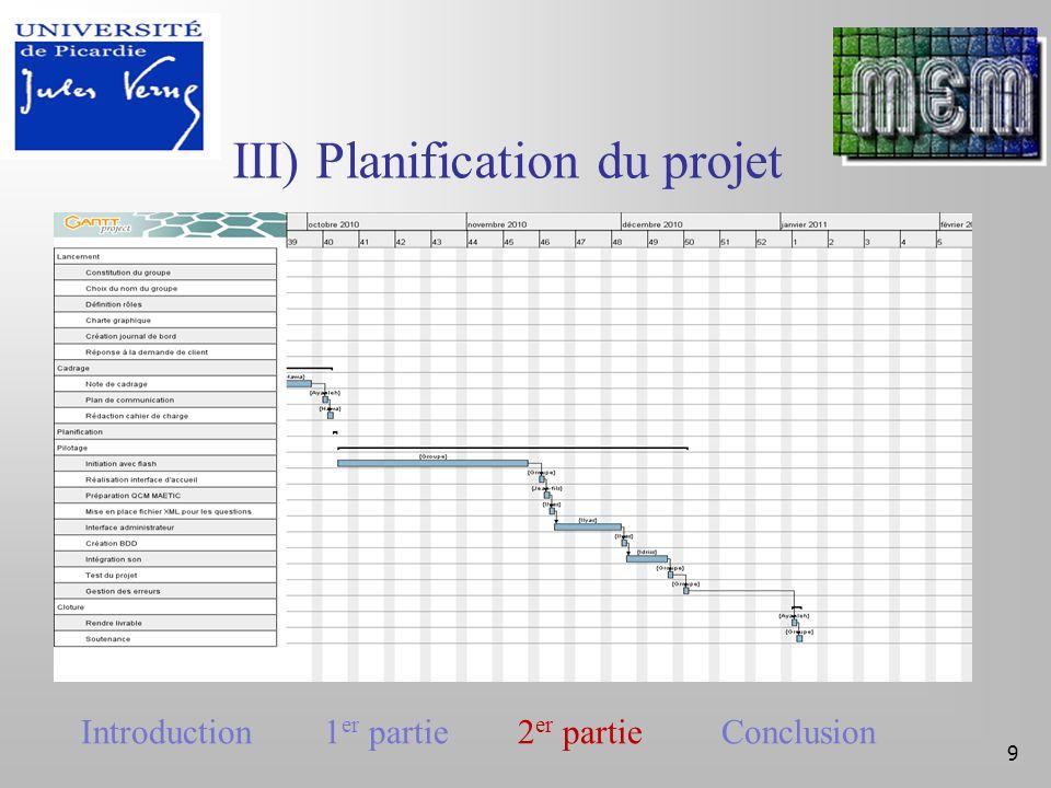 IV) Pilotage 10 Tableau de bord Introduction 1 er partie 2 er partie Conclusion