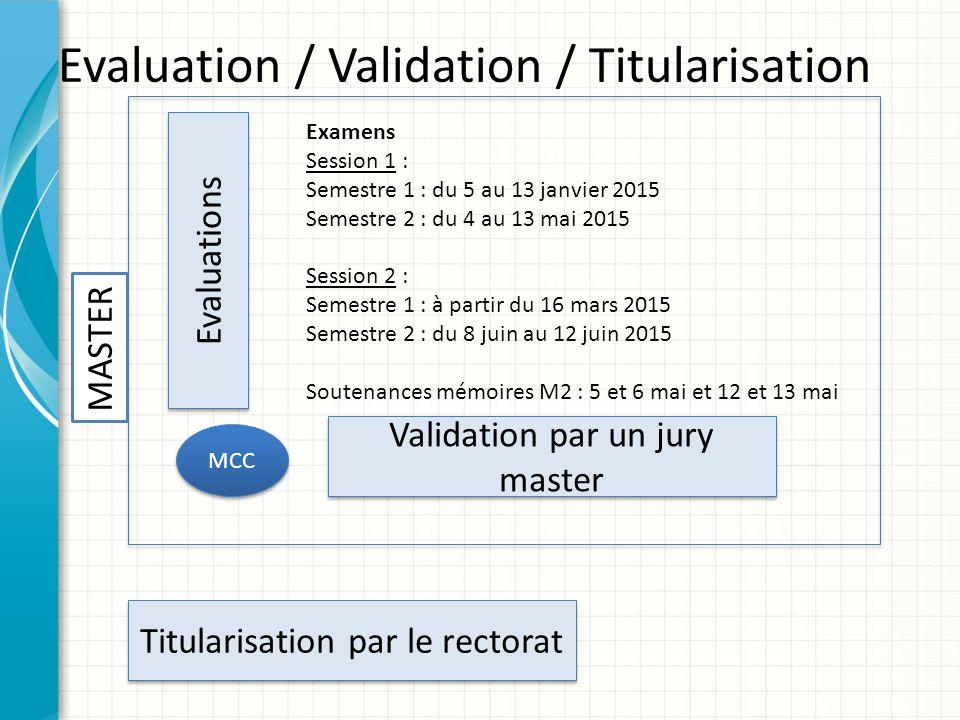Evaluation / Validation / Titularisation Examens Session 1 : Semestre 1 : du 5 au 13 janvier 2015 Semestre 2 : du 4 au 13 mai 2015 Session 2 : Semestr