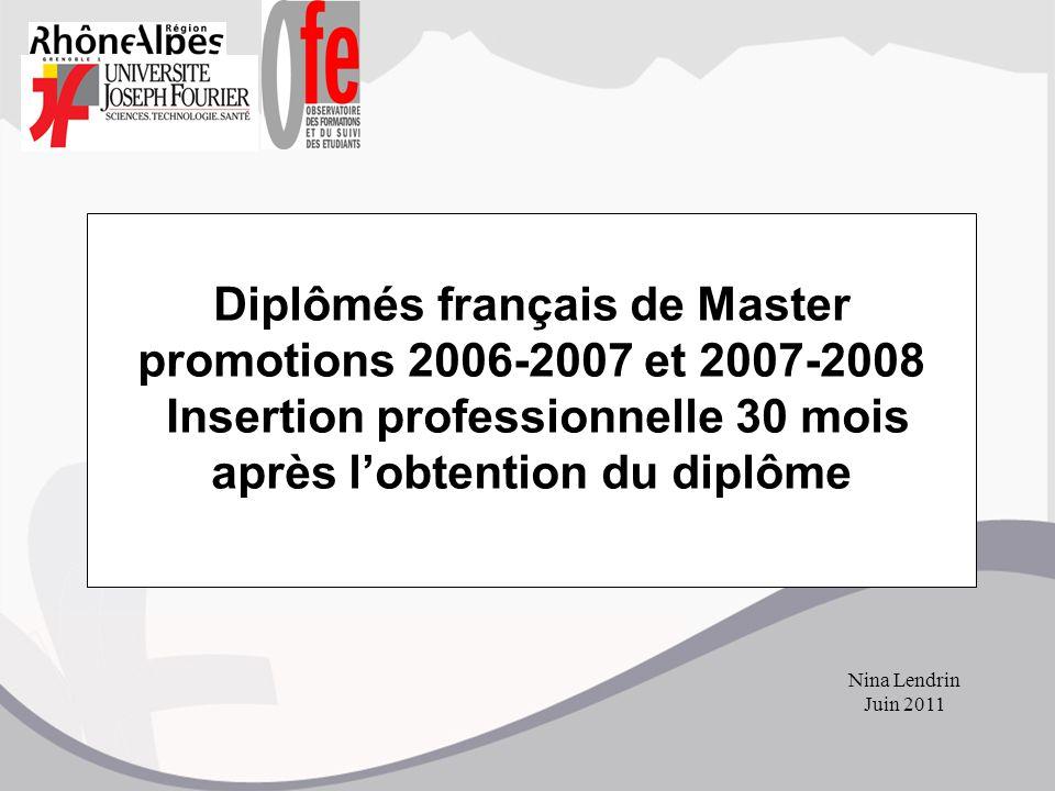 Diplômés français de Master promotions 2006-2007 et 2007-2008 Insertion professionnelle 30 mois après l'obtention du diplôme Nina Lendrin Juin 2011