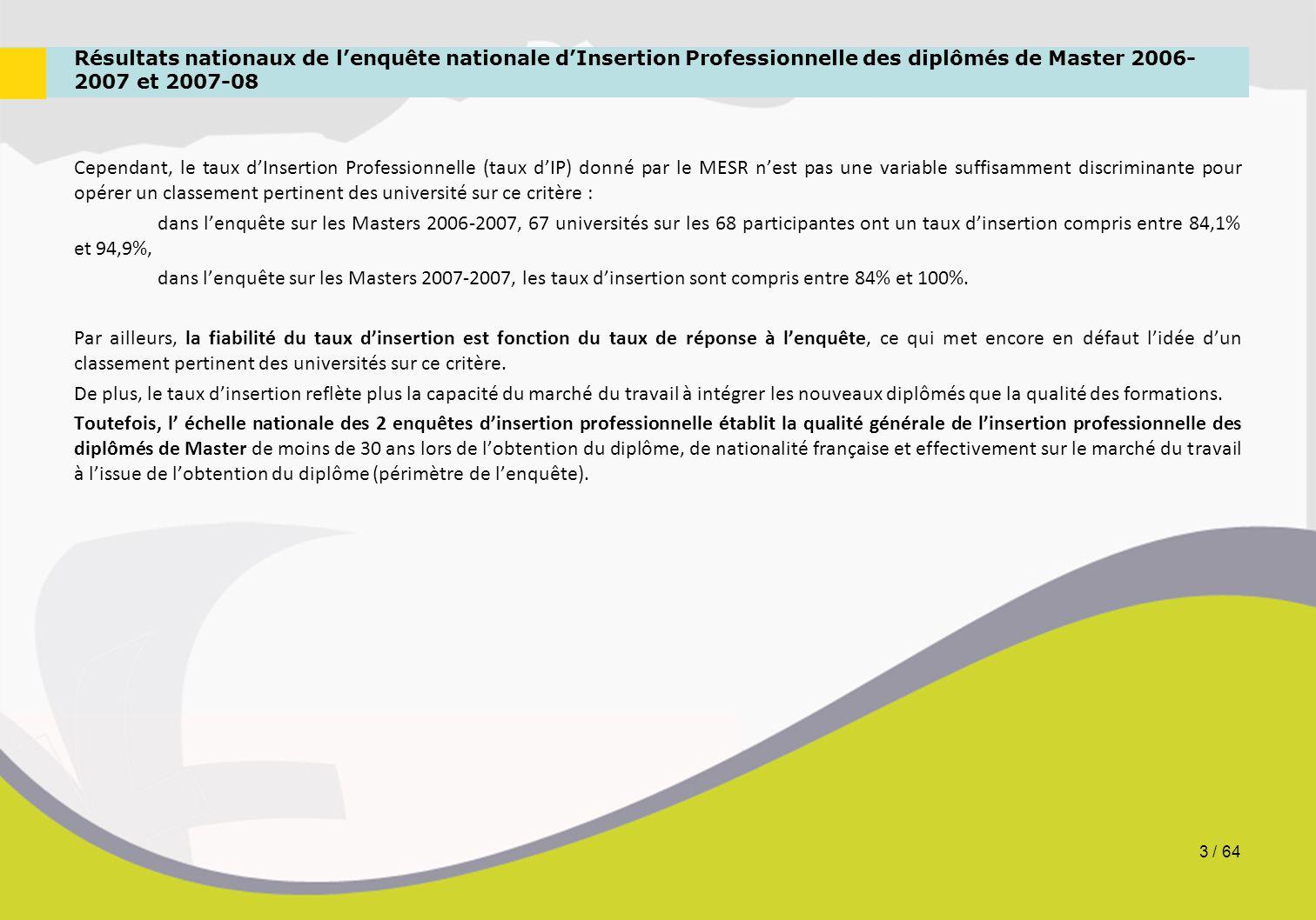 Résultats nationaux de l'enquête nationale d'Insertion Professionnelle des diplômés de Master 2006- 2007 et 2007-08 Cependant, le taux d'Insertion Pro