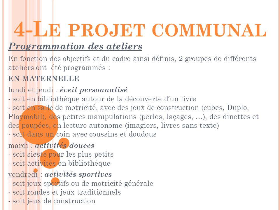 4-L E PROJET COMMUNAL Programmation des ateliers En fonction des objectifs et du cadre ainsi définis, 2 groupes de différents ateliers ont été program