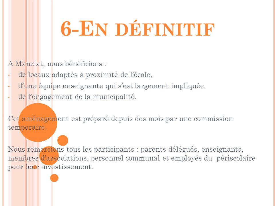 6-E N DÉFINITIF A Manziat, nous bénéficions : de locaux adaptés à proximité de l'école, d'une équipe enseignante qui s'est largement impliquée, de l'e