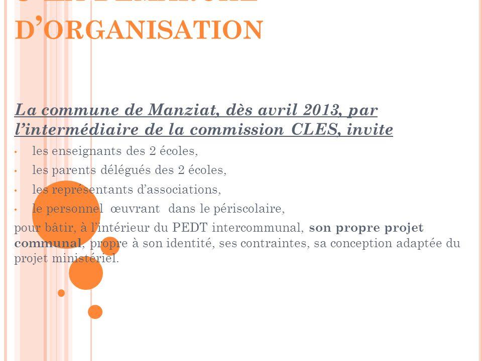 La commune de Manziat, dès avril 2013, par l'intermédiaire de la commission CLES, invite les enseignants des 2 écoles, les parents délégués des 2 écol
