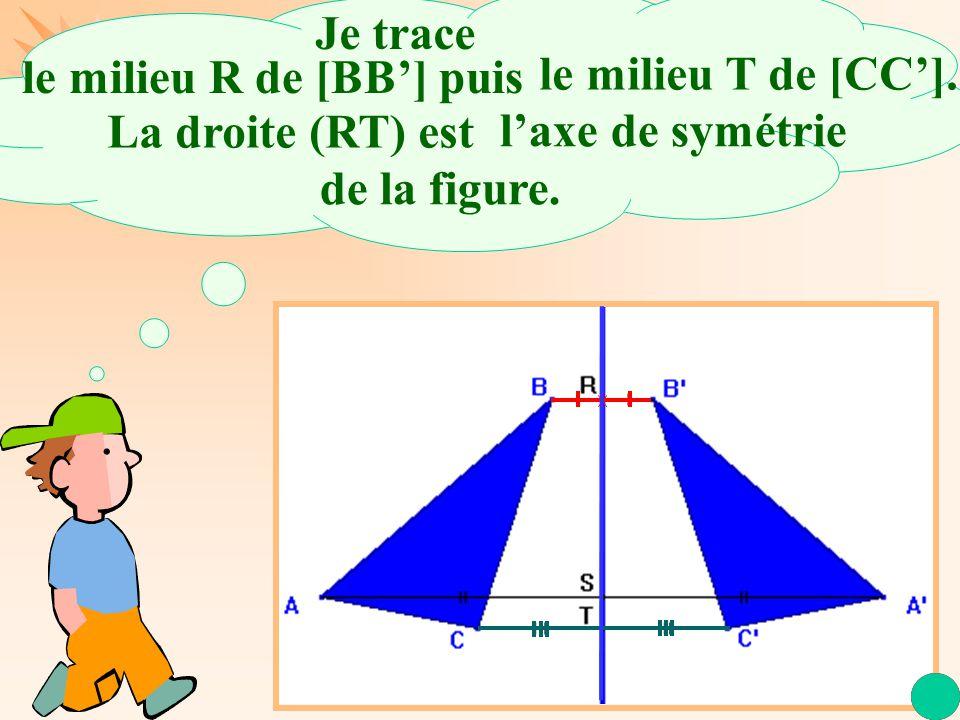 La Géométrie Autrement.Je trace le milieu R de [BB'] puis l'axe de symétrie de la figure.