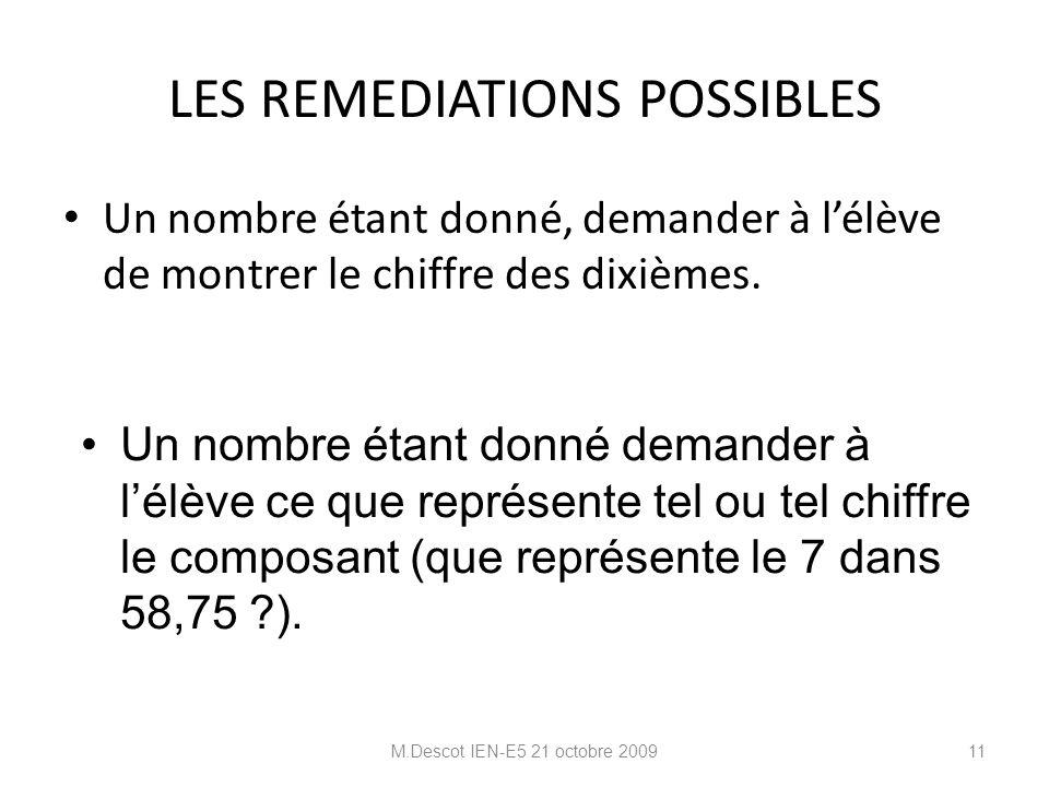 LES REMEDIATIONS POSSIBLES Un nombre étant donné, demander à l'élève de montrer le chiffre des dixièmes.