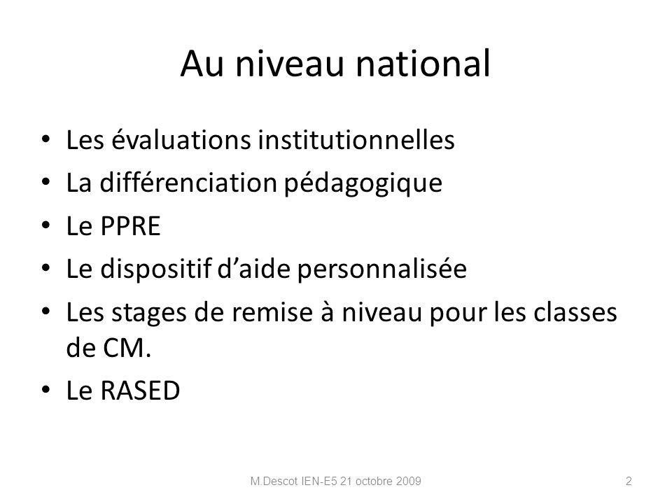 Au niveau national Les évaluations institutionnelles La différenciation pédagogique Le PPRE Le dispositif d'aide personnalisée Les stages de remise à niveau pour les classes de CM.