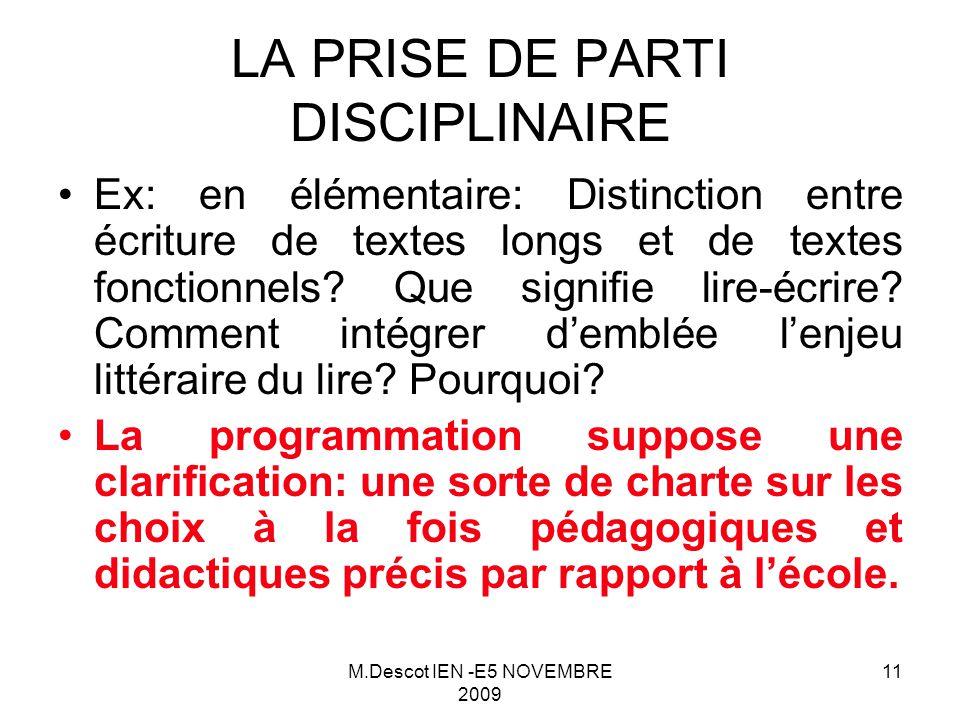 M.Descot IEN -E5 NOVEMBRE 2009 11 Ex: en élémentaire: Distinction entre écriture de textes longs et de textes fonctionnels.