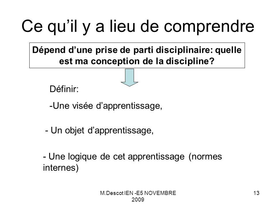 M.Descot IEN -E5 NOVEMBRE 2009 13 Ce qu'il y a lieu de comprendre Dépend d'une prise de parti disciplinaire: quelle est ma conception de la discipline.
