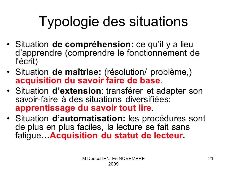 M.Descot IEN -E5 NOVEMBRE 2009 21 Typologie des situations Situation de compréhension: ce qu'il y a lieu d'apprendre (comprendre le fonctionnement de l'écrit) Situation de maîtrise: (résolution/ problème,) acquisition du savoir faire de base.