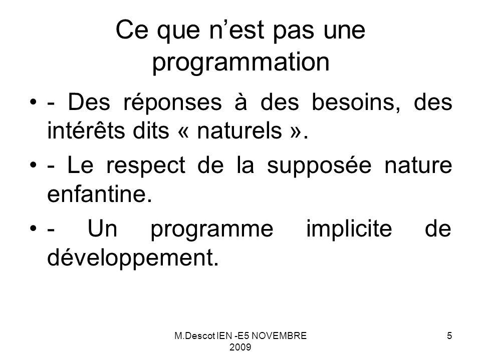 M.Descot IEN -E5 NOVEMBRE 2009 5 - Des réponses à des besoins, des intérêts dits « naturels ».