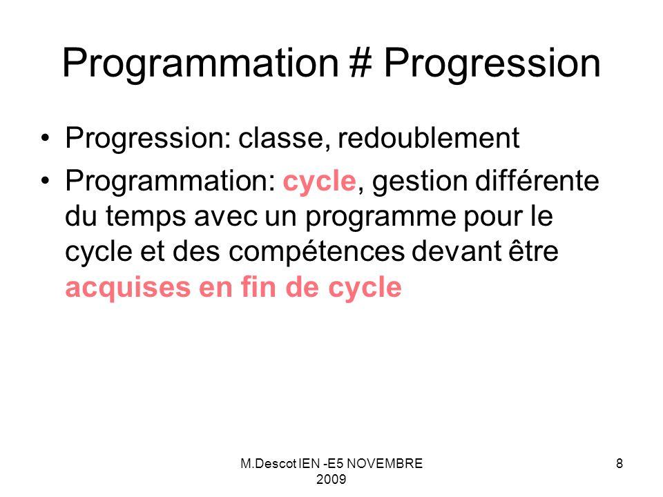 M.Descot IEN -E5 NOVEMBRE 2009 8 Progression: classe, redoublement Programmation: cycle, gestion différente du temps avec un programme pour le cycle et des compétences devant être acquises en fin de cycle Programmation # Progression