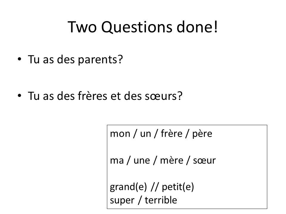 Two Questions done! Tu as des parents? Tu as des frères et des sœurs? mon / un / frère / père ma / une / mère / sœur grand(e) // petit(e) super / terr