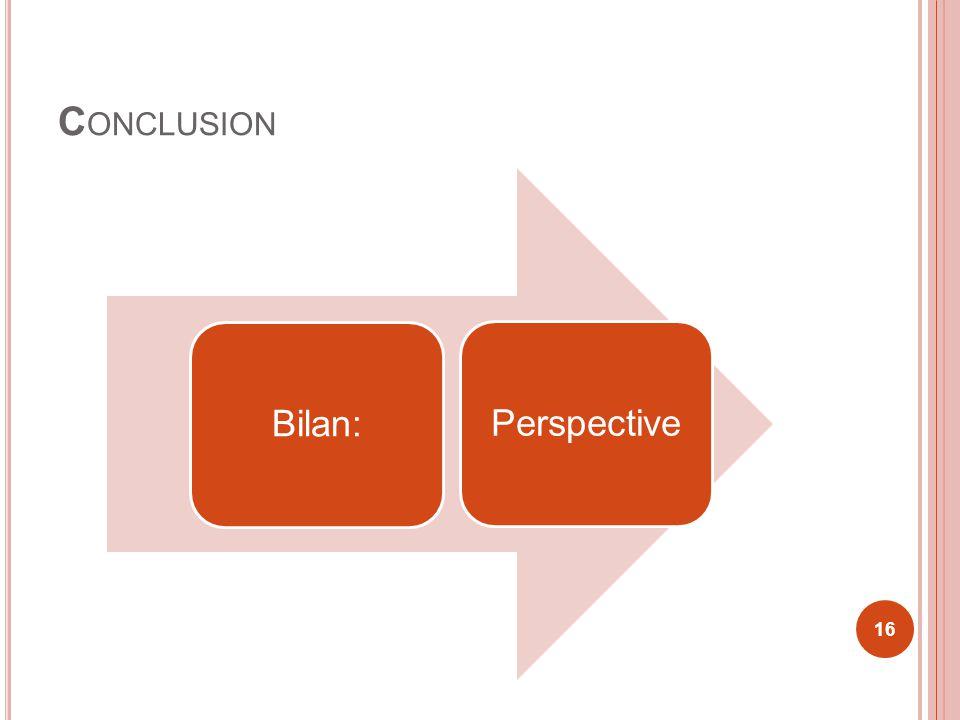 C ONCLUSION Bilan:Perspective 16